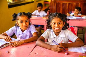school girls happy in new clothes